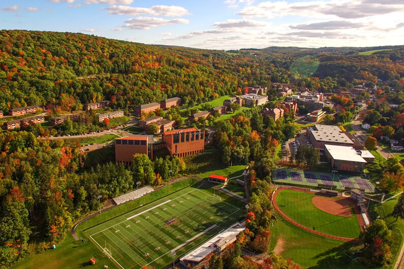 Scenic photo of campus during fall taken from above with a drone