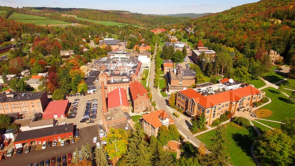 Drone shot of Alfred University