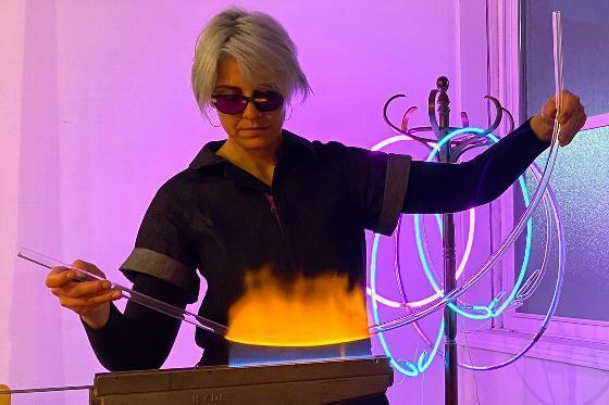 Sarah Blood, Alfred University assistant professor of glass, at work in her studio.