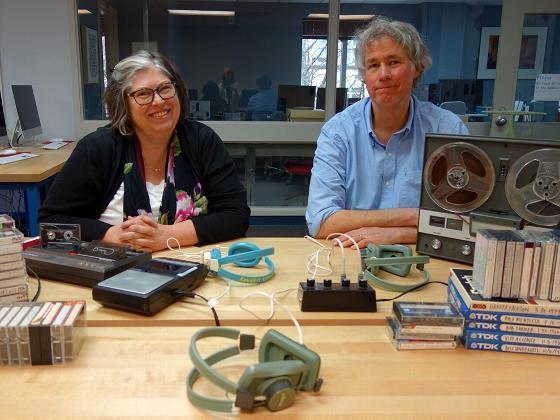 Laura Habecker and John Hosford with audio tapes