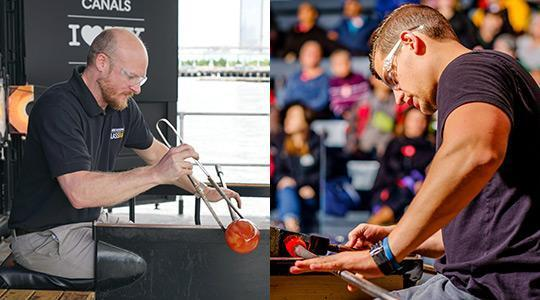 G. Brian Juk '01 (left) and Tom Ryder '09. Photos courtesy of Corning Museum of Glass.