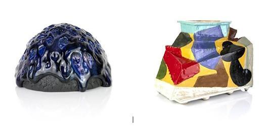 Work by Kaneshiro (Closed Vessel) and John Gill (Vase) at Solomon Gallery in Miami