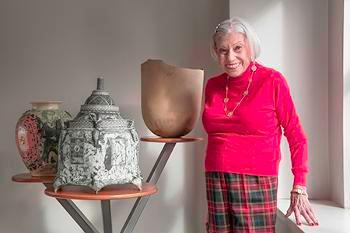 Nanette L. Laitman with ceramic art works from her collection, 2018. Photo: Brian Oglesbee