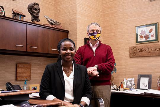 Alfred University junior  serves as 'President for a Day'