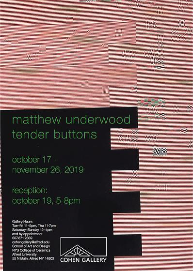 Exhibition at Cohen Gallery features works by late Alfred University alumnus Matthew Underwood