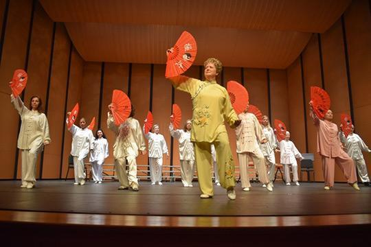 The National Conference on Chinese Immersion Programs concert opened with a tai chi fan performance.