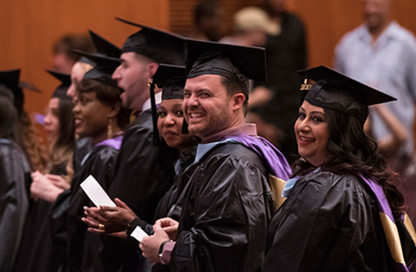 AU-NYC graduates at their Commencement ceremony
