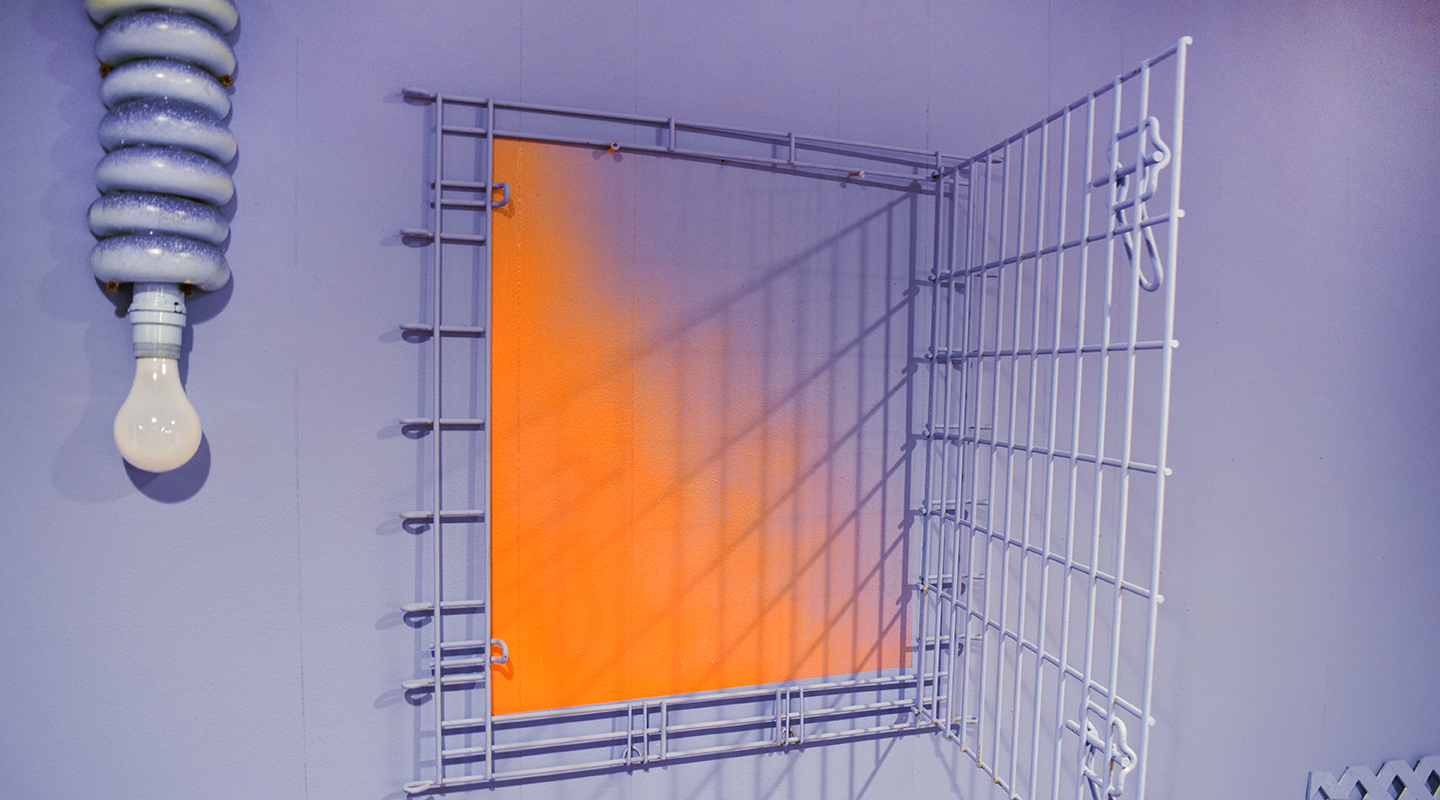 painting of soft purple with light and cage