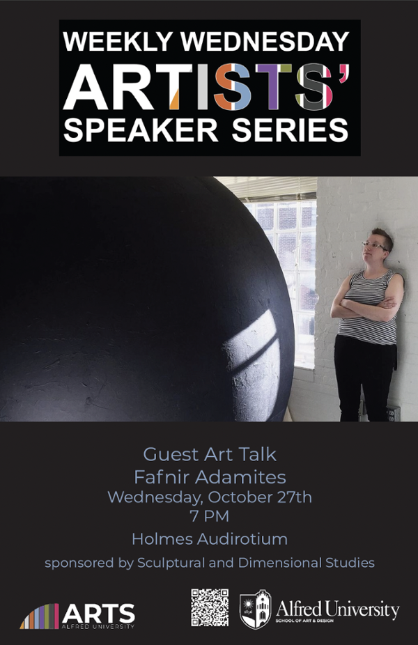 poster featuring person leaning on wall next to large ball