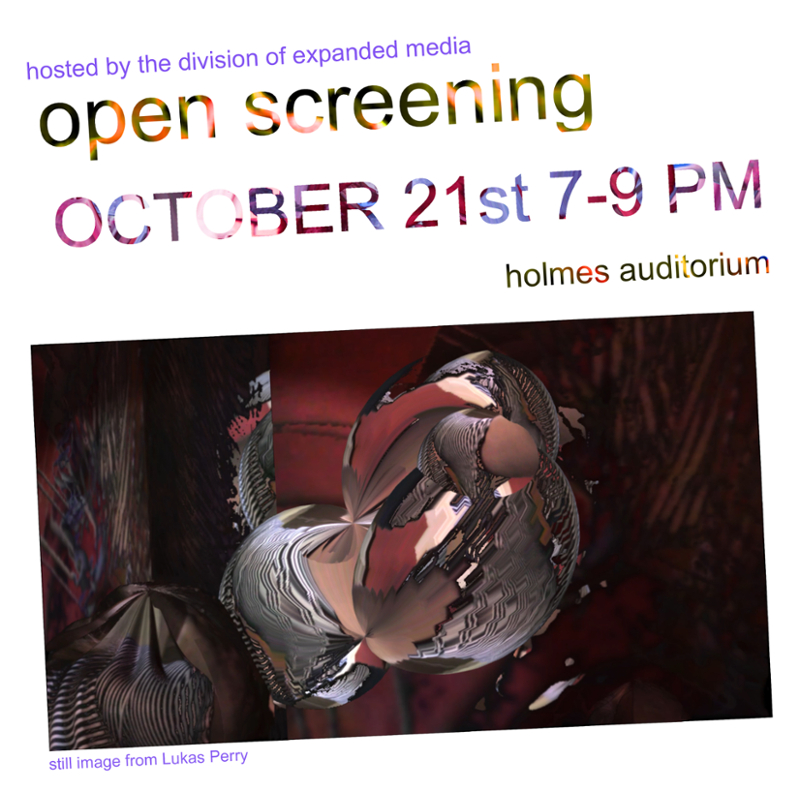Open Screening is a long-standing tradition in the School of Art and Design that provides a platform to share your video and moving images to the wider SOAD community. This semester we will be hosting Open Screening in Holmes Auditorium. All students, faculty, and staff are welcome to bring their own time-based media (video/sonic, or both) to screen via a portable hard drive. We will prioritize works under 8 minutes in length. This semester we have special live audio-visual performances by several solo and collaborative groups. For more information email Eric Souther @ souther@alfred.edu